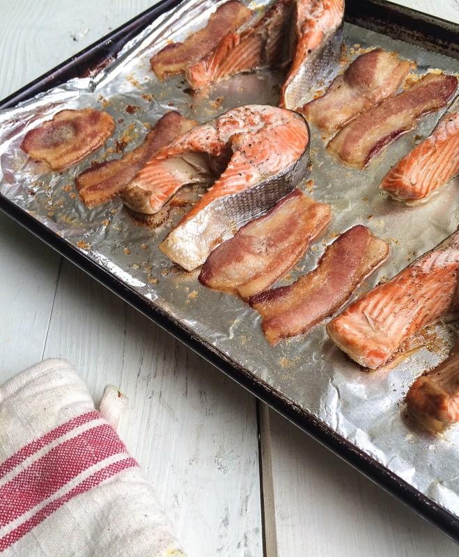 Roast Salmon BLT on tray