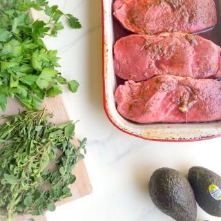 Steak with Avocado Chimichurri