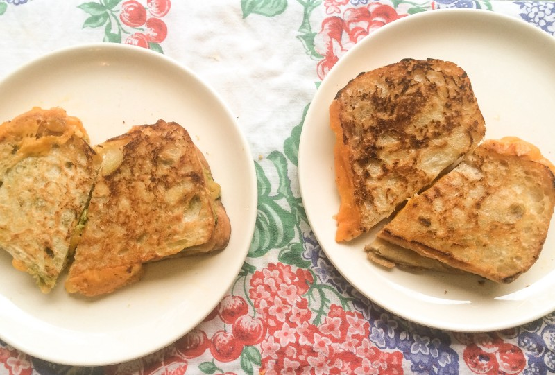 Valentine Grilled Cheese Sandwich on Vintage Tablecloth