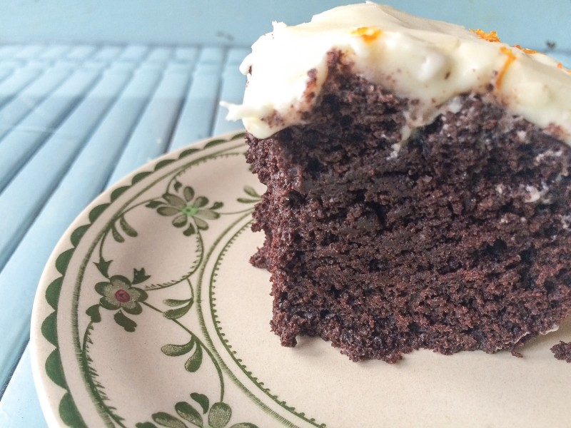 Chocolate Buttermilk Cake with Tangerine Cream Cheese Frosting