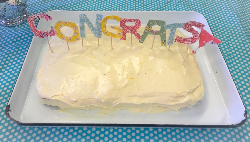 Congrats Cake with Vintage Fabric Scraps