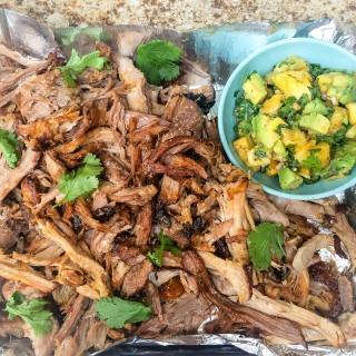 Pork Shoulder Carnitas with Pineapple Avocado Salsa