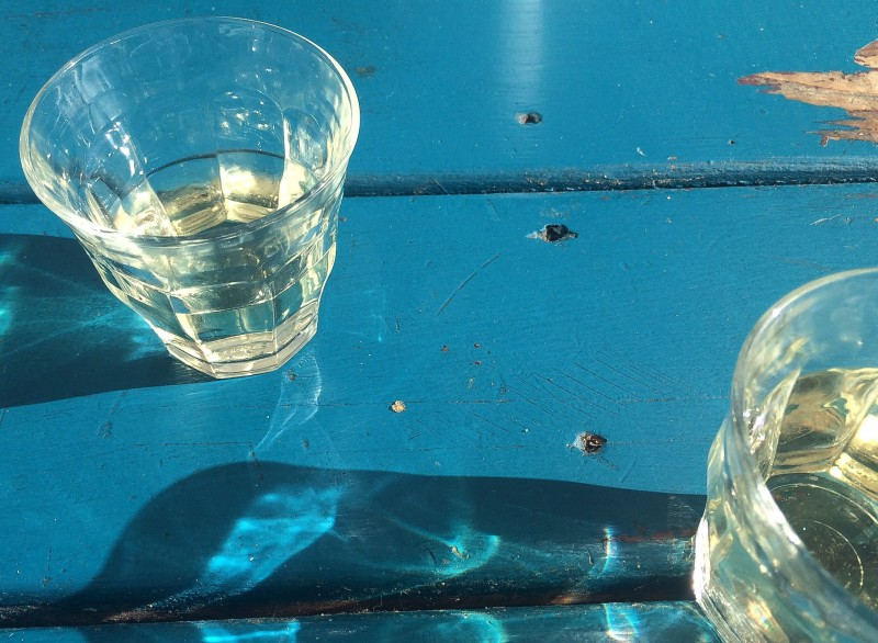 Glasses on Picnic Table at Carte Blanche Food Cart