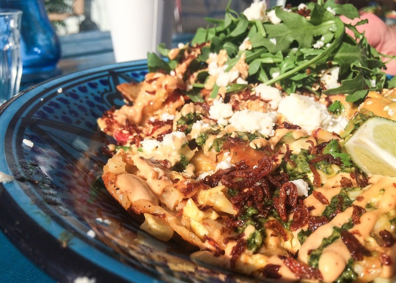 Sunflower-Almond Mole Bowl with Braised Chicken and Pan-Fried Corn Tortillas, Carte Blanche Food Truck, Portland