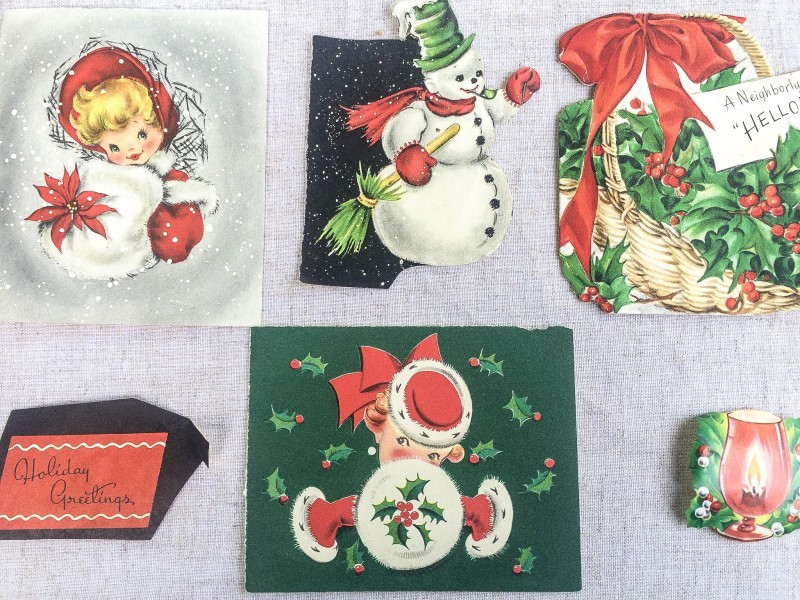 vintage Christmas, retro holiday, cards