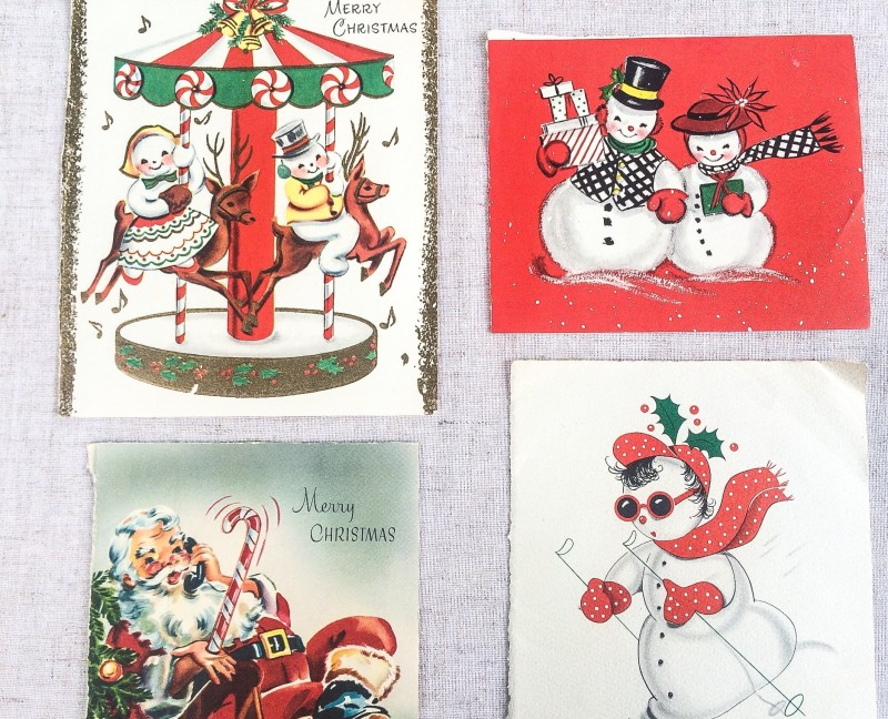 Vintage Christmas Cards from Portland Goodwill bins