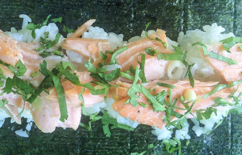 Salmon Sushi Roll with Cilantro