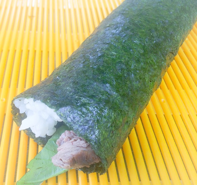 Homemade Sushi Rolls with Steak and Basil