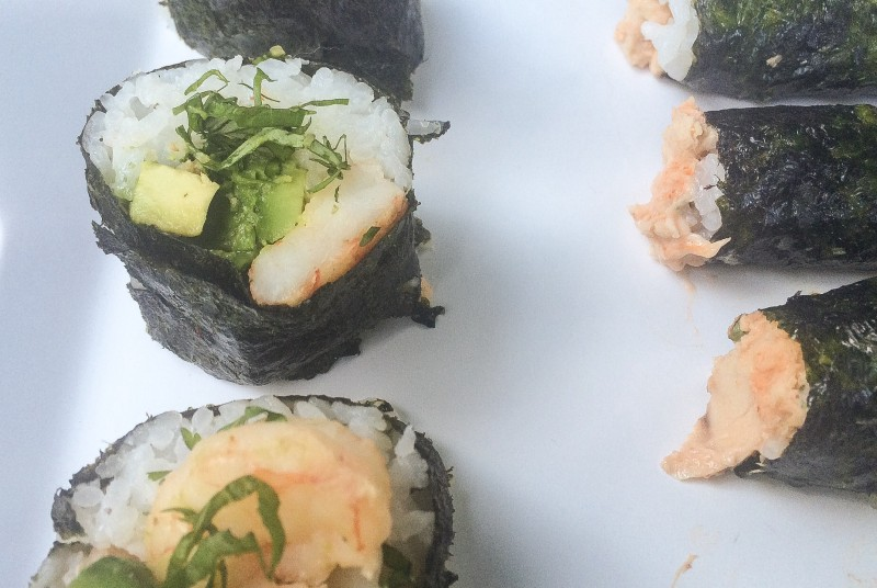 Homemade Sushi Rolls with Shrimp, Avocado and Spicy Tuna