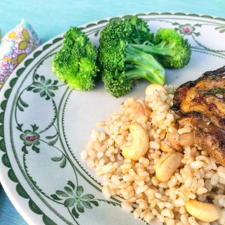 Chinese Five Spice Chicken Thighs with Brown Rice and Cashews