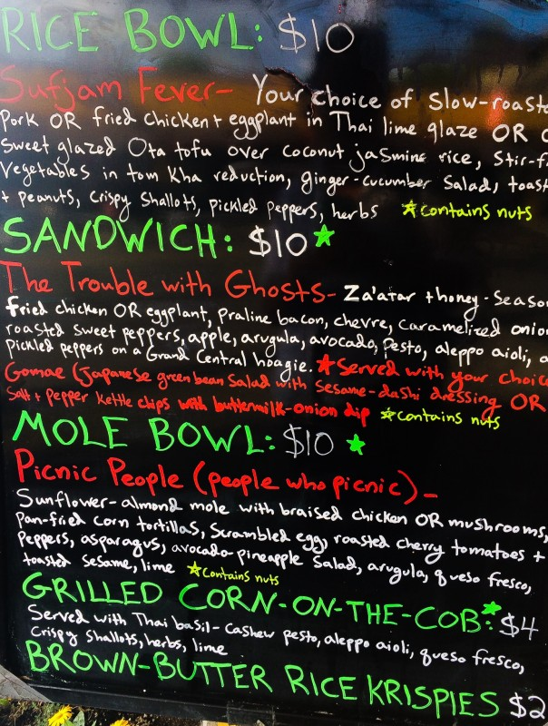 Menu at Carte Blanche Food Cart, Portland
