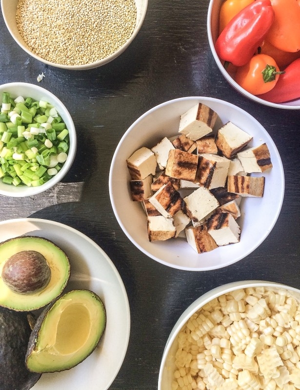 Quinoa Bowl with Corn and Grilled Tofu and Tahini Dressing