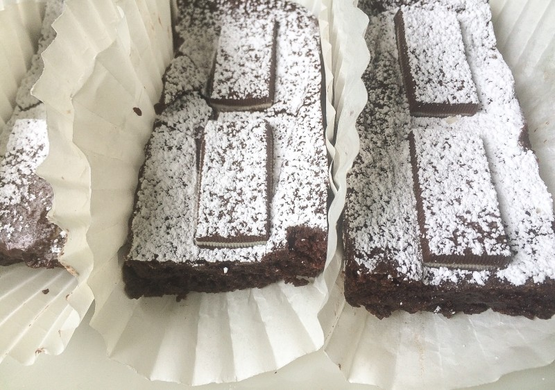 Bittersweet Chocolate Blondies with Andes Mints