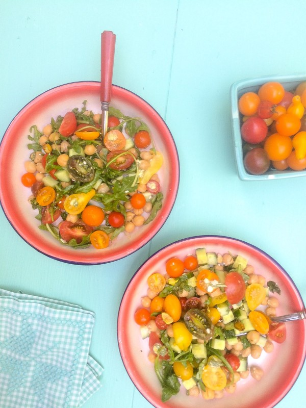 Tomato Salad with Cucumber, Chickpeas, Feta and PIstachios