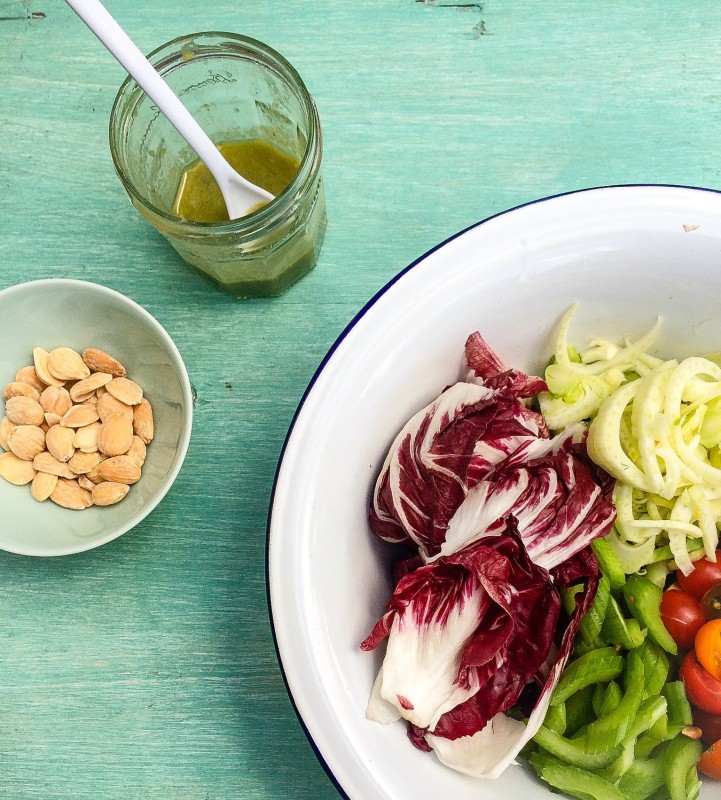 Radicchio, Tomato and Fennel Salad with Basil-Anchovy Dressing
