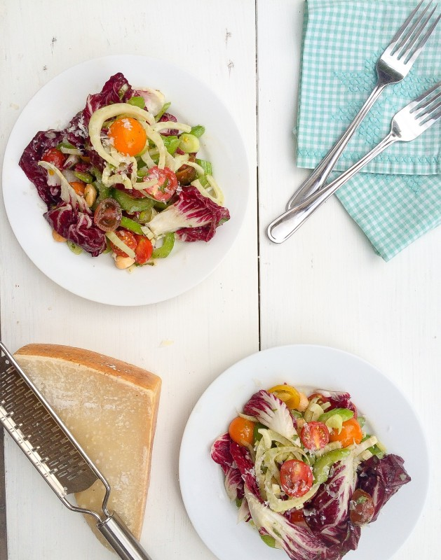 Radicchio, Fennel and Tomato Salad with Marcona Almonds, Parmesan and a Basil Anchovy Dressing