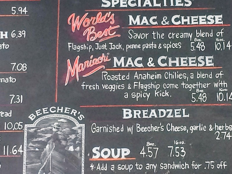 Beecher's Mac and Cheese Menu