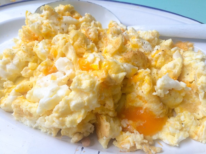 Scrambled Egg Whites with Sharp Cheddar, Sleep Over Food