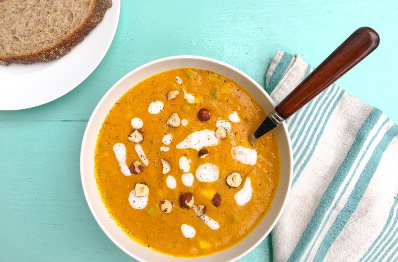 Curried Roasted Butternut Squash Soup with Yogurt and Hazelnuts