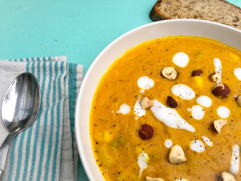 Roasted Curried Butternut Squash Soup with Hazelnuts and Yogurt