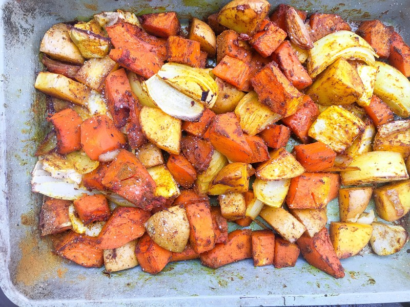 Roasted Curried Butternut Squash, Potatoes, Onions and Apples for Butternut Squash Soup