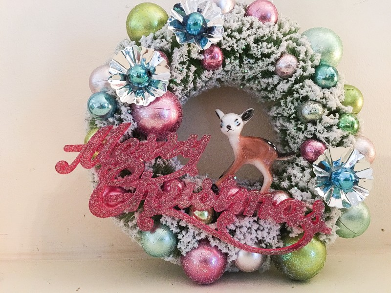 Vintage Merry Christmas Wreath