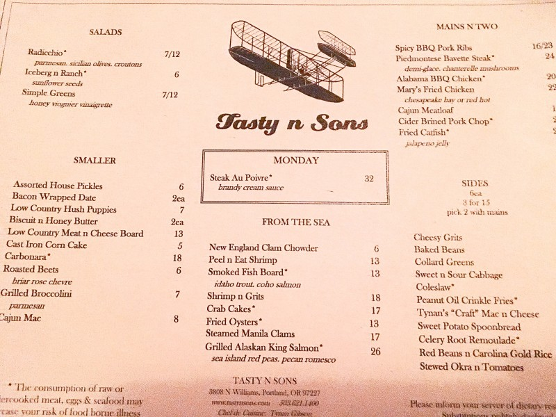 Menu at Tasty n Sons