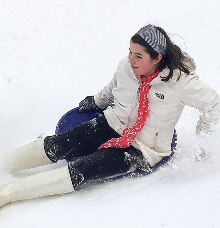 Charlotte Sledding on Mt. Hood Sno-Park