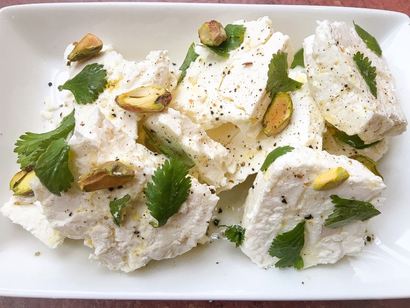 Feta with Pistachios and Cilantro for Chicken Shawarma