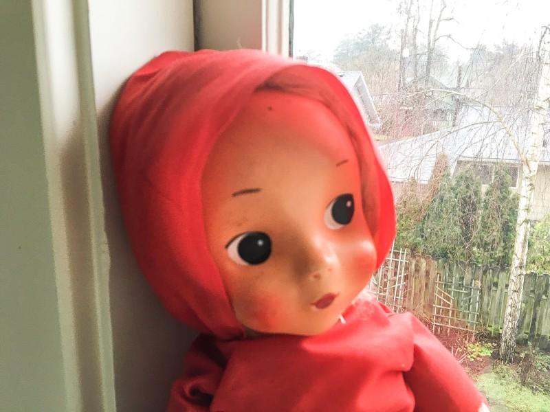 Lorelai in window -- Vintage Goodwill doll