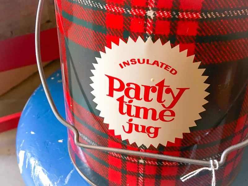 Party Time Jug, Plaid, at Wheeler antique shop