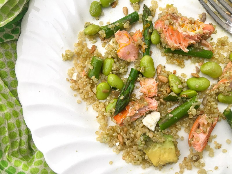 Quinoa Green Power Bowl with edamame and asparagus