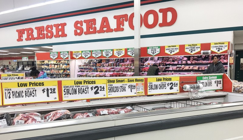 Seafood and Meat Department at Winco Foods, Portland