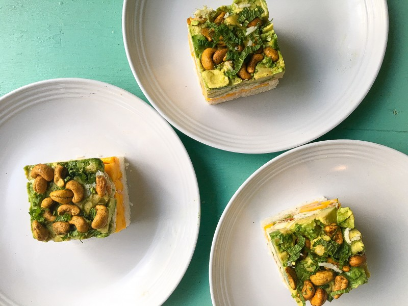 Dungeness Crab, Avocado and Mango Stacker with Spicy Cashew