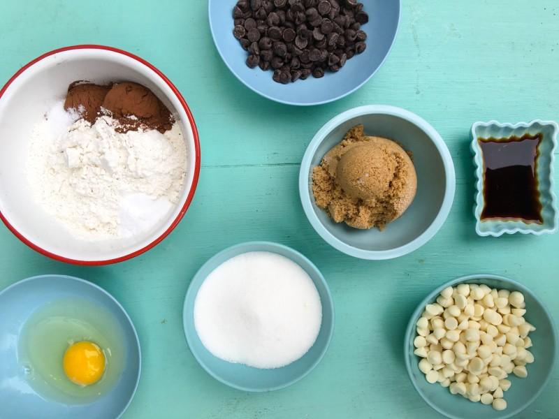 Ingredients for Triple Chocolate Fudge Cookies