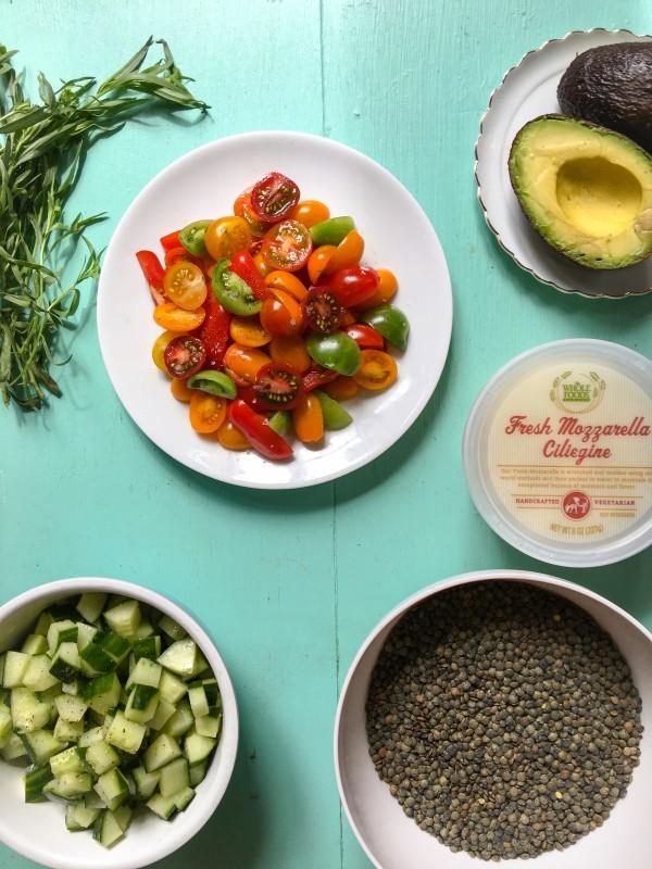 Lentils, Greens, Tomatoes and Fresh Mozzarella Salad for Picnics