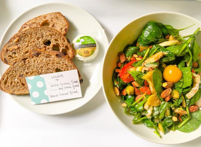 Spinach Salad and Walnut Bread for Elizabeth