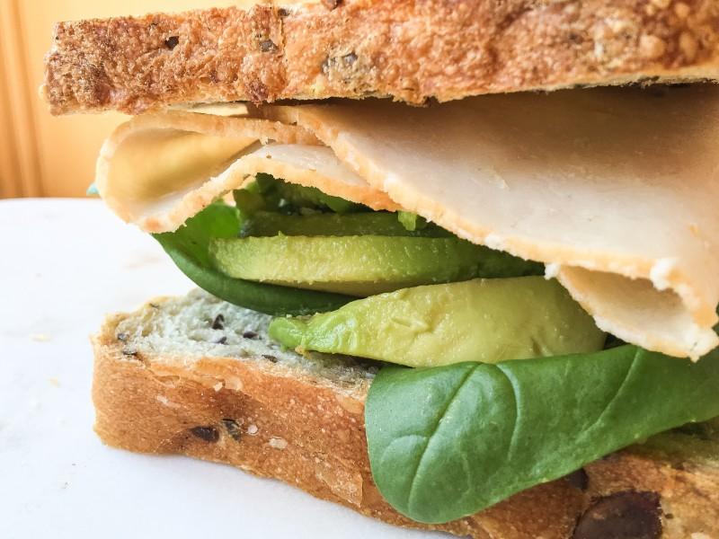 Turkey, Avocado, Fava and Basil Sandwich