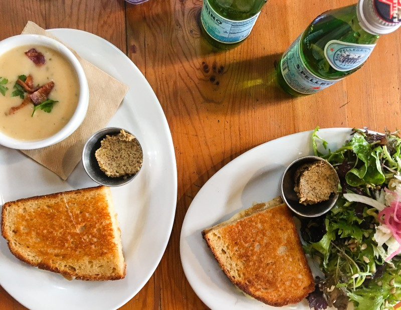 Lunch at Tabor Bread -- Grilled Cheese and Soup and Salad