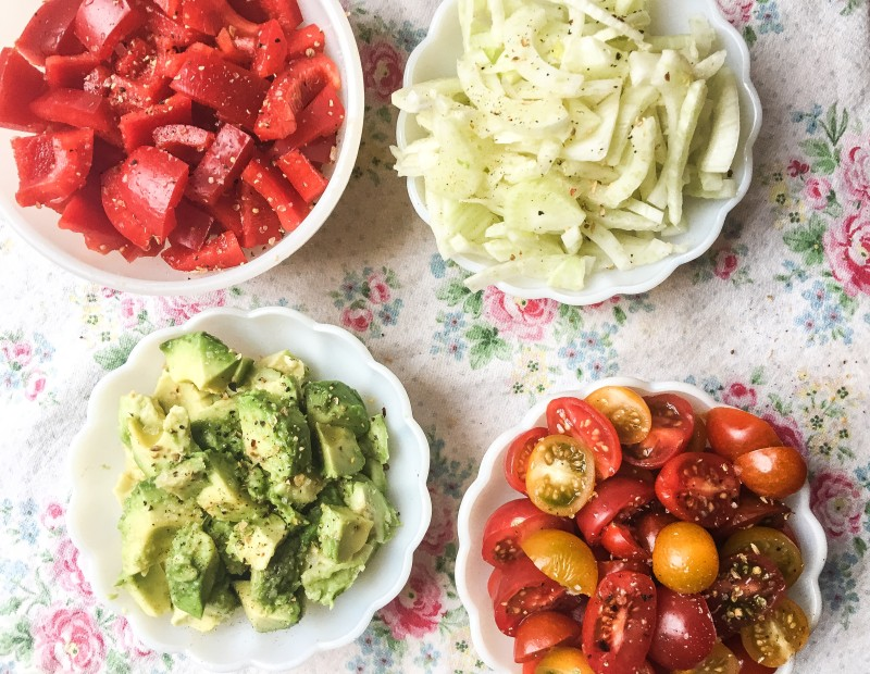 Prep for White Bean Salad with Tomatoes, Avocado, Cucumbers and Herbs