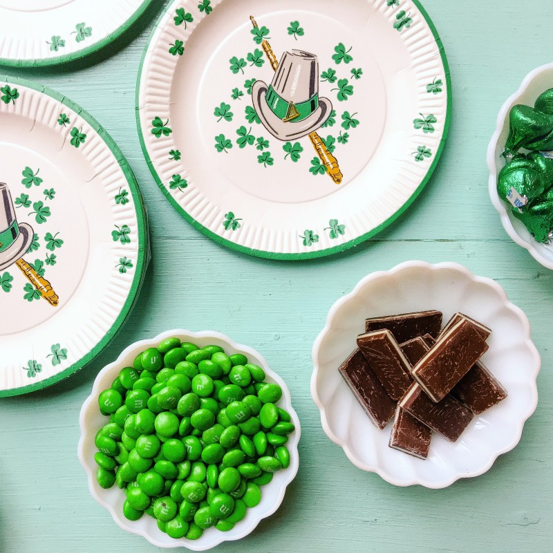 Vintage St.Patrick's Day plates and brownie ingredients