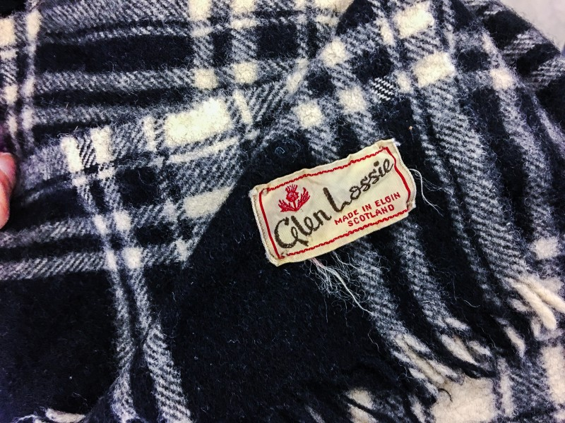 Vintage Scottish wool scarf from Goodwill outlet bins