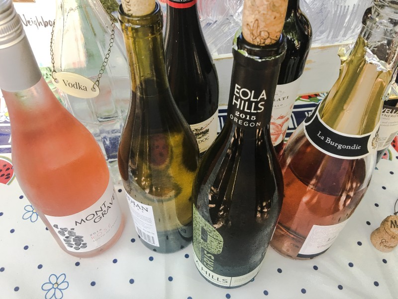 wine offerings at block party