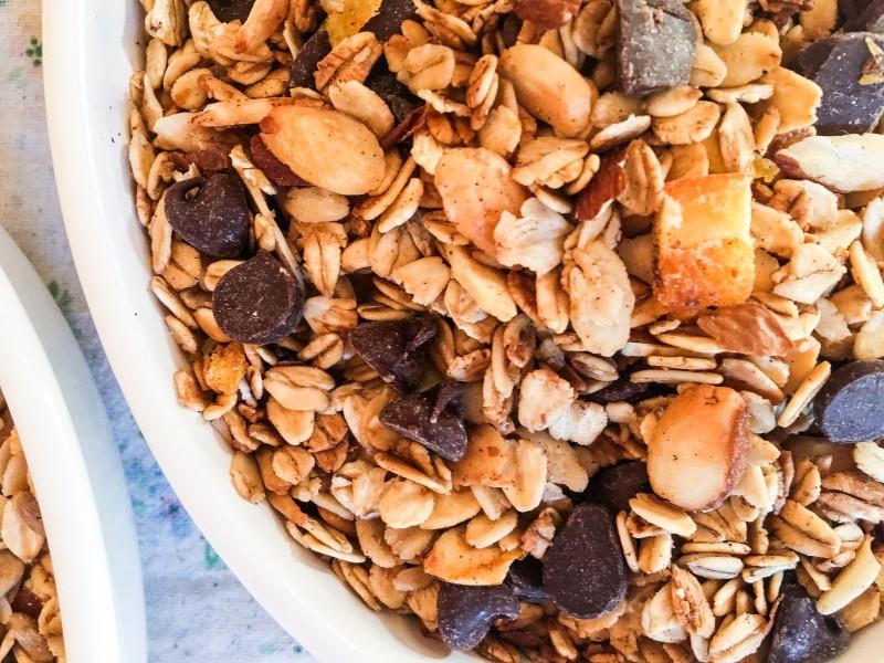 homemade granola with orange and chocolate