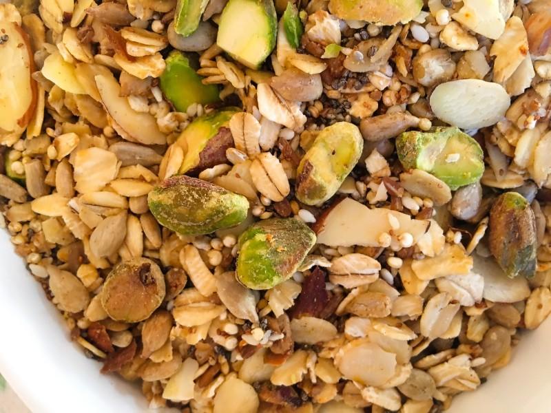 homemade granola pistachio savory