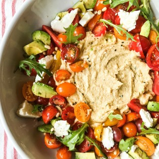 Tomato Salad with Feta and Hummous