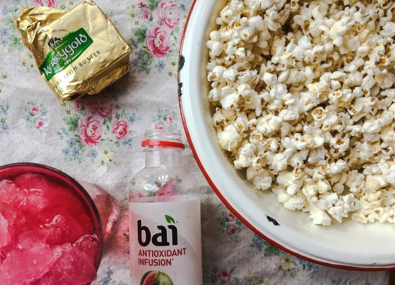 Popcorn with watermelon slushie