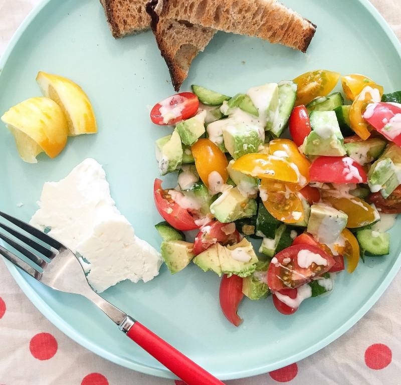 Greek Salad at Rockaway Beach