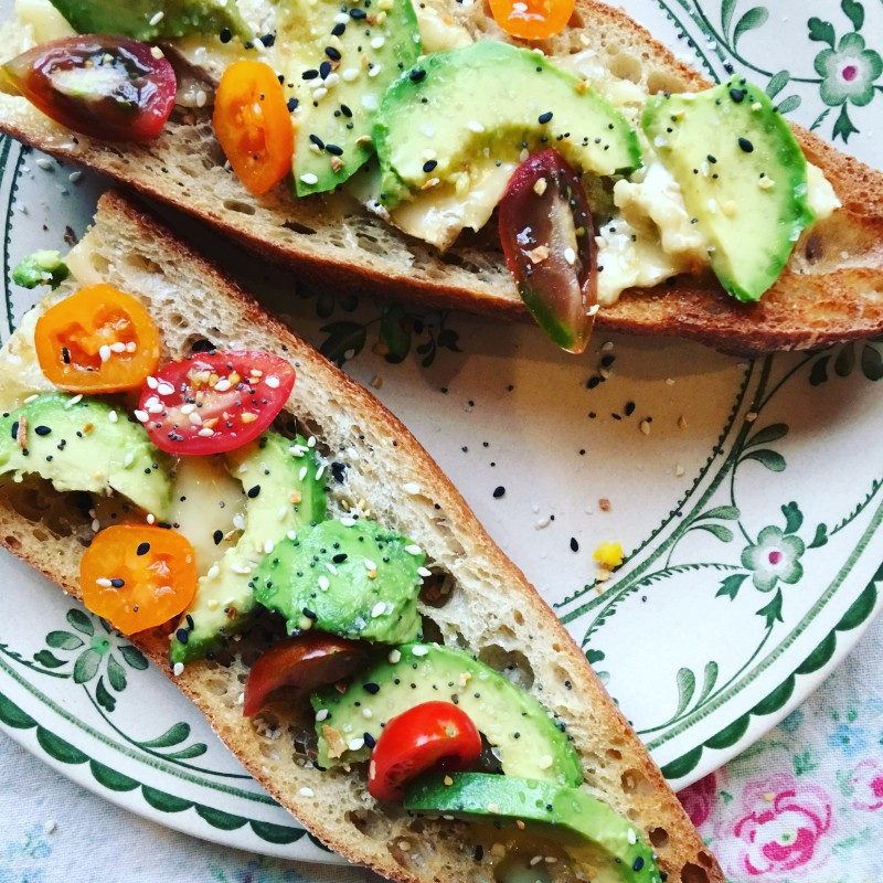avocado toast on baguette