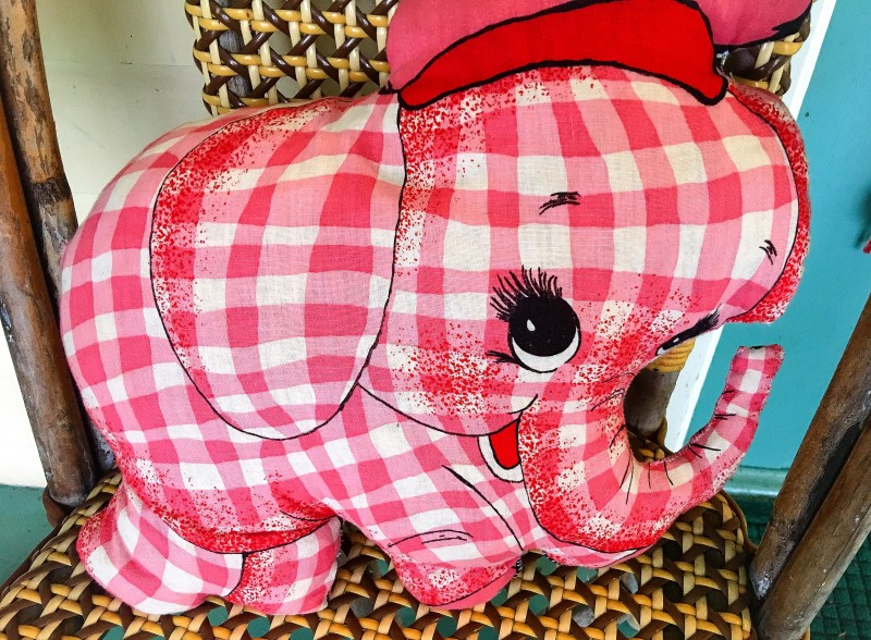 vintage Goodwill gingham elephant porch toy